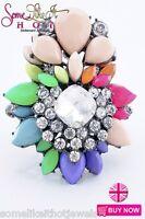 Statement Ring Large Multi Colour Pink Jewel Rhinestone Diamonte New UK