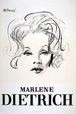 Original Vintage Poster Marlene Dietrich Portrait Bouche Movie Star 1965 France