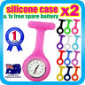 Nurse Watch FOB Silicone Case Pocket Watch+ Pin for Pouch+Extra Battery Hot Pink