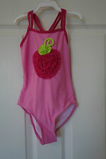 NWT Love U Lots Pink Ruffle Berry One Piece Swimsuit  ~ Girl's Size 6X