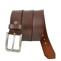 Men Genuine Leather Formal Premium Classic Chrome Clamp Buckle Classy Brown Belt