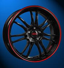 4x NEUE  Dotz Shift black/pins red 8.0 x 18 Zoll Alufelgen LK 5 / 100 ET 35 mm