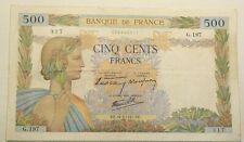 1940 France 500 Francs P#95a Pin holes #800