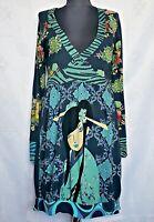 AUTHENTIC DESIGUAL FLORAL EMBROIDERY JAPAN ART COTTON BLEND WOMEN'S DRESS-SIZE:L
