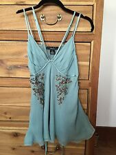 Anthropologie muted aqua silk beaded top m nwot