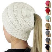 Beanietail Messy High Bun Ponytail Stretchy Knit Beanie Hats Skull Women Hat New