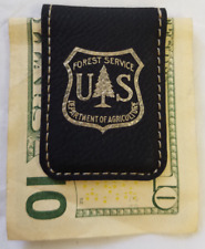 USFS Forest Service Dept of Agriculture Black Leather Money Clip