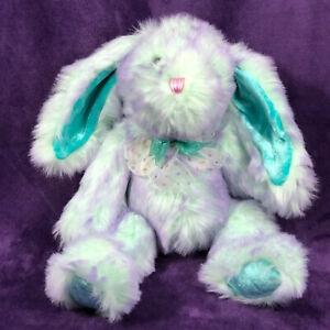 "Dan Dee Hoppy Hopster Bunny Teal Purple Ribbon Bow Easter Rabbit Plush 12"" inch"