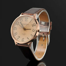 Ladies Fashion Rose Gold Beige Tone Dial Quartz and Brown Band Wrist Watch.