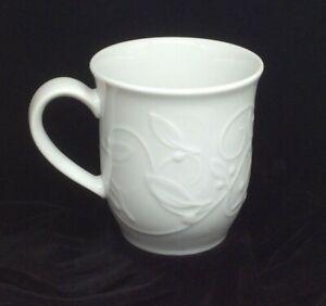 """Dansk Floating Leaves White Mug Coffee Cup Embossed Portugal 4.25"""""""