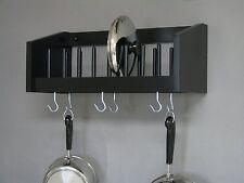 Wall Mounted Rack Wood Pot Pan Utensil Racks Lid Plate Cook Book Shelf Kitchen