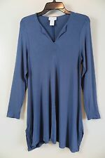 SOFT SURROUNDINGS Air Force Blue Long Rayon Blend Tunic Size M Made in USA