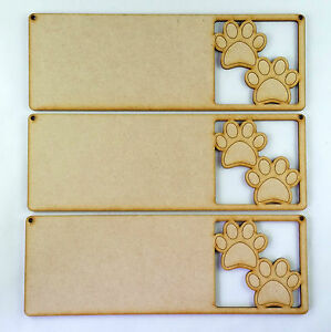 3x MDF WOODEN PAWPRINT SIGN dog, cat wood craft shape plaque hanger blank