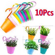 10X Garden Metal Flower Pots Wall-hanging Basket Bucket Balcony Fence Planter US