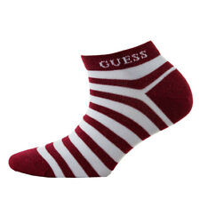 Guess Ladies Trainer Socks - Glitter Thread, One Size, Striped, Red/White