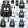 DJ Marshmello Padded Backpack School Book Laptop Travel Nylon Bag w/USB Charger