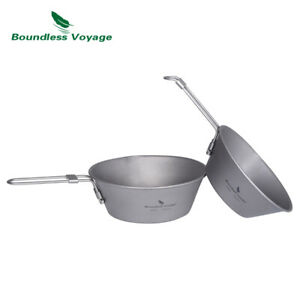 Outdoor Camping Titanium Sierra Cup Bowl with Folding Handle 300 450 ml