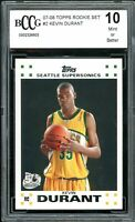 2007-08 Topps Rookie Set #2 Kevin Durant Rookie Card BGS BCCG 10 Mint+