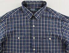 Men's POLO RALPH LAUREN Blue Plaid Pocket Linen Cotton Shirt XLarge XL NWT NEW