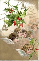 1905 Children Angel Heads Wings Holly Christmas Clapsaddle Postcard BZ