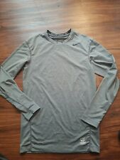 NIKE PRO COMBAT DRI FIT LONG SLEEVE COMPRESSION SHIRT BOYS YOUTH LARGE GRAY
