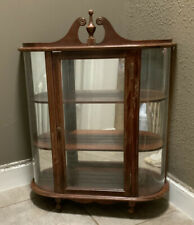 ANTIQUE VINTAGE BUTLER CURVED GLASS CURIO DISPLAY CASE MIRROR WALL HANG CABINET
