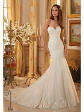 WEDDING DRESS MORI LEE 5475 STRAPLESS SOFT TULLE AND LACE DRESS SIZE 8 FISHTAIL