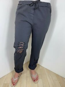 Magic Pants Super Stretchy Magic Trousers Distressed Ripped Rips Grey Comfy Soft