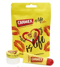 CARMEX IS LIFE LIMITED EDITION POUCH TWO PRODUCTS IN THE POUCH .