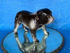 Vintage Black English Bulldog Pit bull Gold Spike Collar Figurine 5/8 ��sj3j