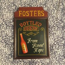 Vintage FOSTERS BEER rare 3D Wooden Sign 70s Game Room Man Cave Australia Gift