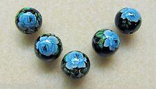5 Japanese Tensha Beads BLUE ROSE on BLACK ROUND Beads 12mm