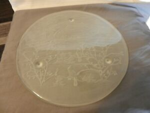 Vintage Round Frosted Glass Cake or Cookie Tray With Winter Farm Scene Embossed