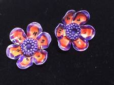 Vintage purple floral enamel clip on earrings made in West Germany