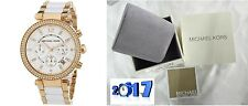 NEW GENUINE MICHAEL KORS MK5774 WHITE ROSE GOLD 'PARKER' LADIES WATCH UK