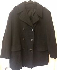 Ladies size 16 Wool Mix Coat Jacket Marl Black Charcoal double breasted spring