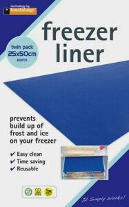 2 Freezer Fridge Drawer Liners Shelf Mats Defrost Prevent Build Up Ice Frost New
