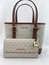 NWT Michael Kors Jet Set Travel XS Tote Satchel Bag & Triford Wallet Vanilla