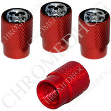 4 Red Billet Aluminum Knurled Tire Air Valve Stem Caps - Chrome Skull Black CS