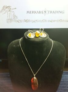 GENUINE NATURAL BALTIC AMBER NECKLACE EARRINGS AND RING IN 925 STERLING SILVER