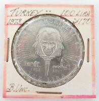 .TURKEY. SUPERB UNC 1973 100 LIRA SILVER COIN.