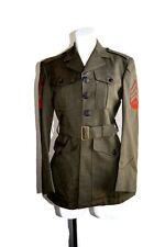 Vintage  Military Coat Marine Wool Serge Green Halloween Costume Small