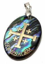 Jerusalem Cross Abalone Shell Pendant Pearl Golden Cross Holy Land Amulet 1.2""
