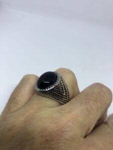 1980's Vintage Golden Stainless Steel Size 11 Men's Genuine Black Onyx Ring