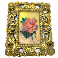 Vtg Original Painting ROSE in Ornate Gold Filigree Frame 9.5 x 8 for 4 x 6 photo