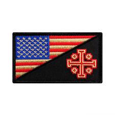 USA Flag Jerusalem Cross Crusader Infidel Morale Patch (Hook Fastener-MTB26)