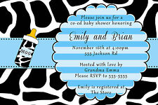 30 Invitations Cow Baby Boy Shower Blue Black Bottle Personalized Farm Animal A1