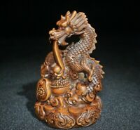 Collect Fengshui decor Old Boxwood carved loong dragon Statue figurines power