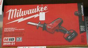 Brand New Milwaukee Hackzall M18 Cordless One-Handed Recip Saw Kit 2625-21