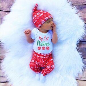 BABY Newborn Christmas Outfit Set Unisex Cotton Clothing Romper Pants Hat Suit